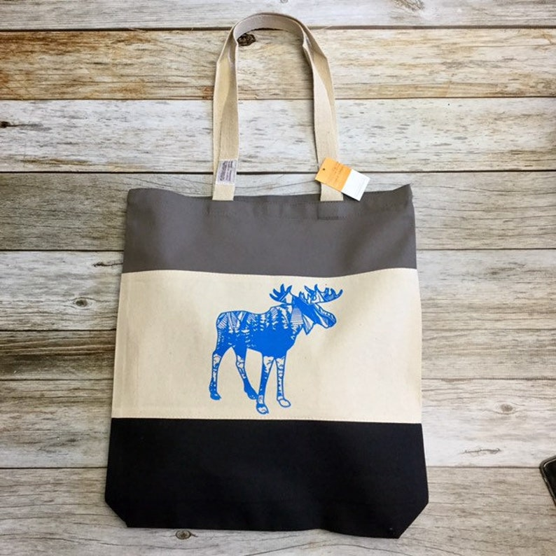 Tri Colored Tote Bag  Moose black grey tan image 0