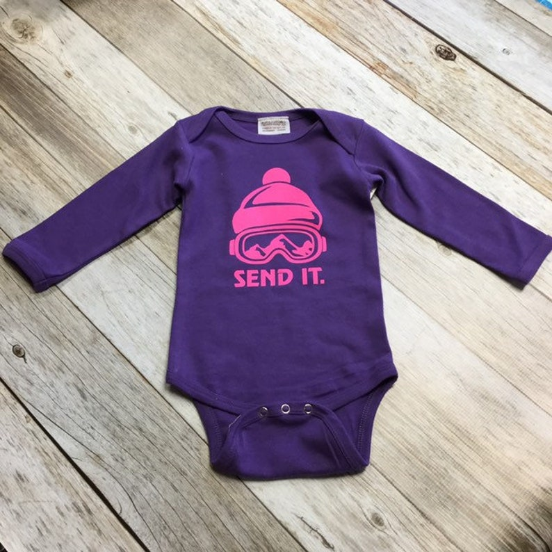Girls Send It Longsleeve Bodysuit  purple  Infant Bodysuit image 0
