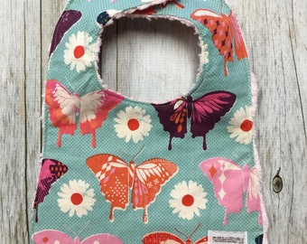 Baby Girl Bib in Retro Butterfly Fabric (2 color options) - Baby Shower Gift-Baby Girl-Baby Accessories