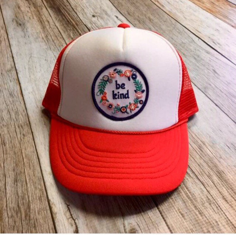 Kids Youth Trucker Hat  Red  with Be Kind Patch image 0