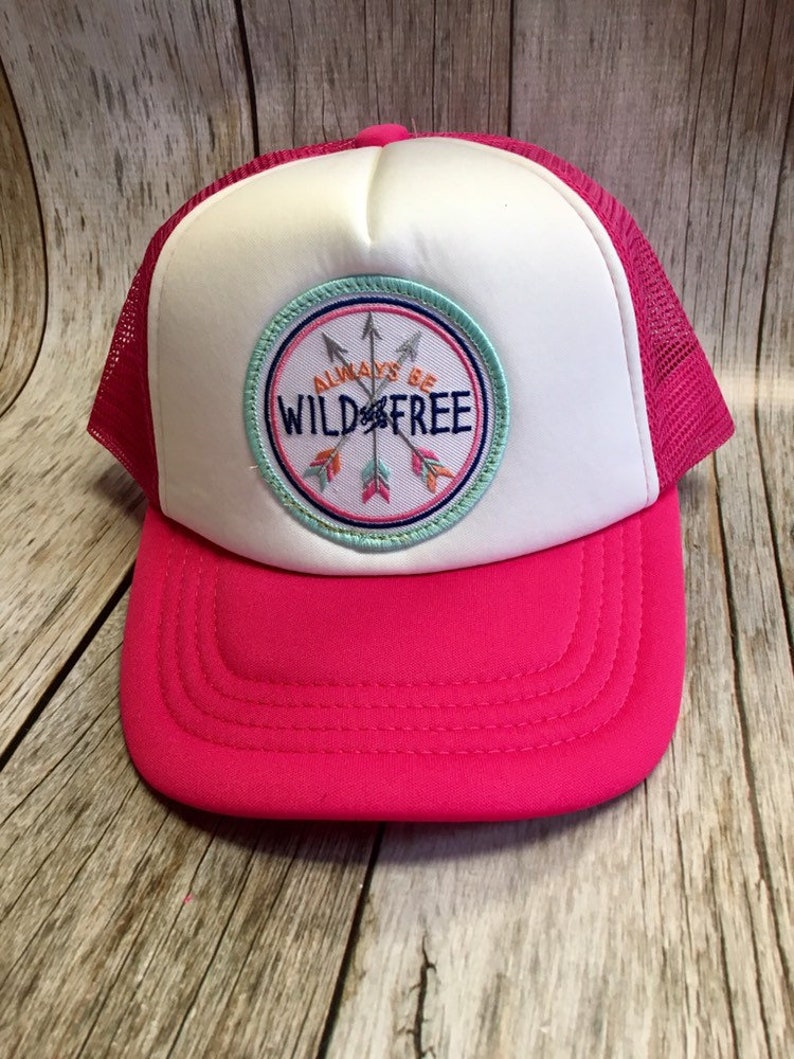 Toddler/Kids Girls Trucker Hat Wild and Free Patch Hot Pink/ image 0