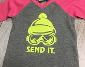 """Girls Infant Raglan Sleeved Shirt with """"Send It"""" & Mountain Appliqué Patch Ski baby gift Mountain Baby"""