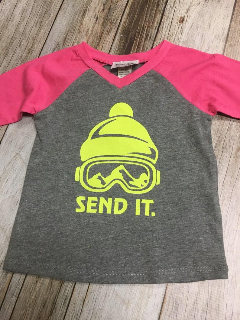 Girls Infant Raglan Sleeved Shirt with Send It & image 0