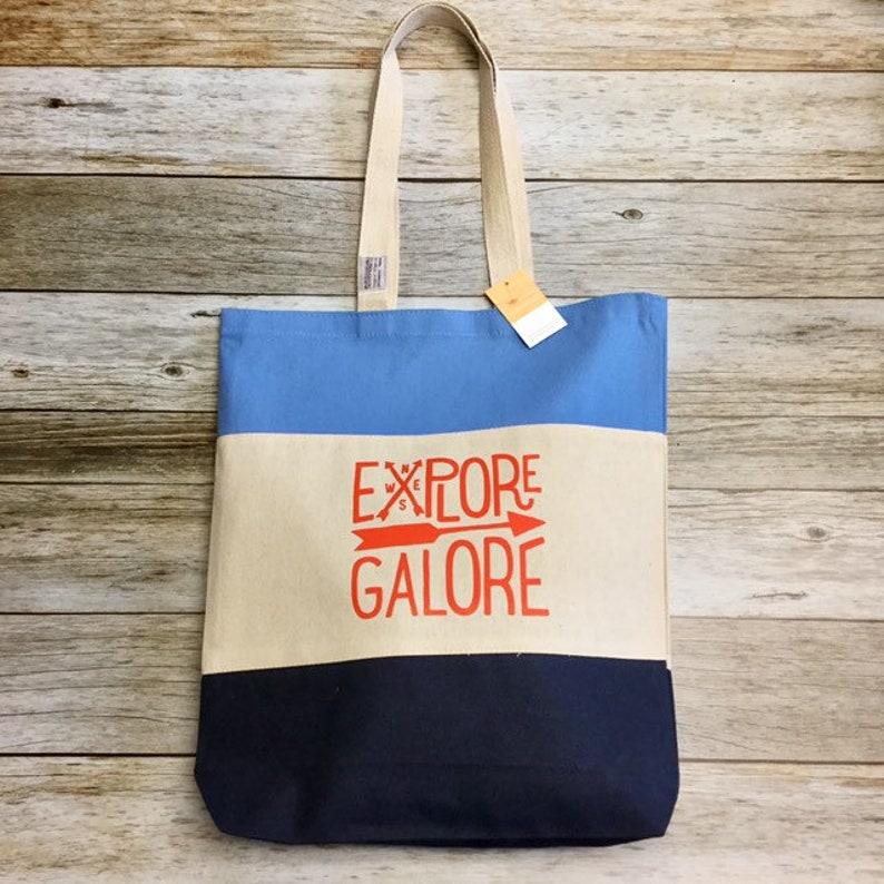 Tri Colored Tote Bag  Explore Galore navy blue image 0