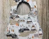 Gender Neutral Bib in Geometric Mountain Fabric - Baby Shower Gift-Baby Girl-Baby Accessories-Chenille Bib