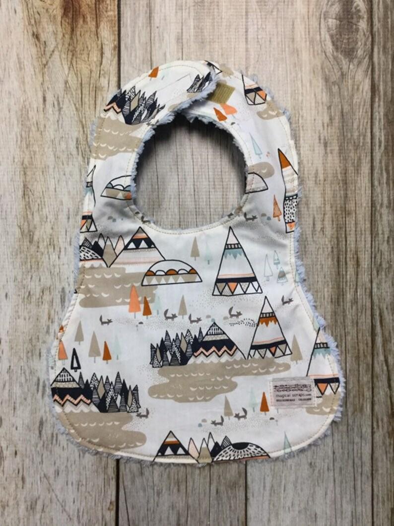 Gender Neutral Bib in Geometric Mountain Fabric  Baby Shower image 0