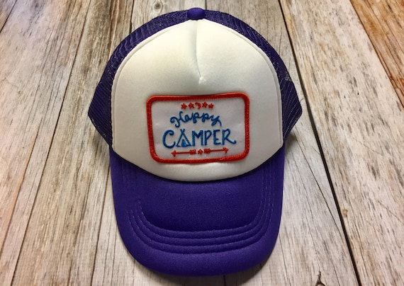 Girls Toddler Kid Purple Trucker Hat with Happy  b60f19173030