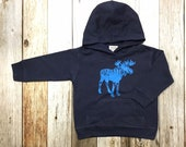 Boy's Hoodie- Moose- Toddler/Kids Sweatshirt- Appliqué Hoodie- Navy