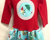 Girls Christmas Outfit-Applique Holiday Frock with Christmas Gnomes- With Leg Warmers
