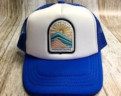 """Kids Youth/Toddler Trucker Hat - Royal Blue - with """"Take Me To The Mountains"""" Patch - Toddler (12 Months- 7 years) Youth ( 2-12 years)"""