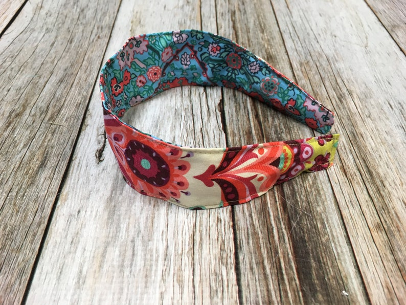 Reversible Fabric Covered Headband  Colorful Florals image 0