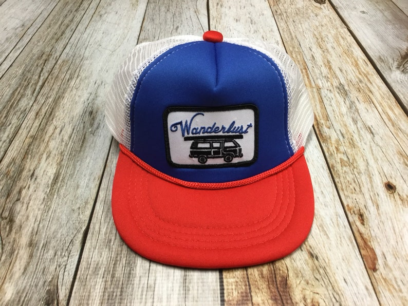 Toddler/Kids Trucker Hat Wanderlust Patch  Blue / Red /White image 0