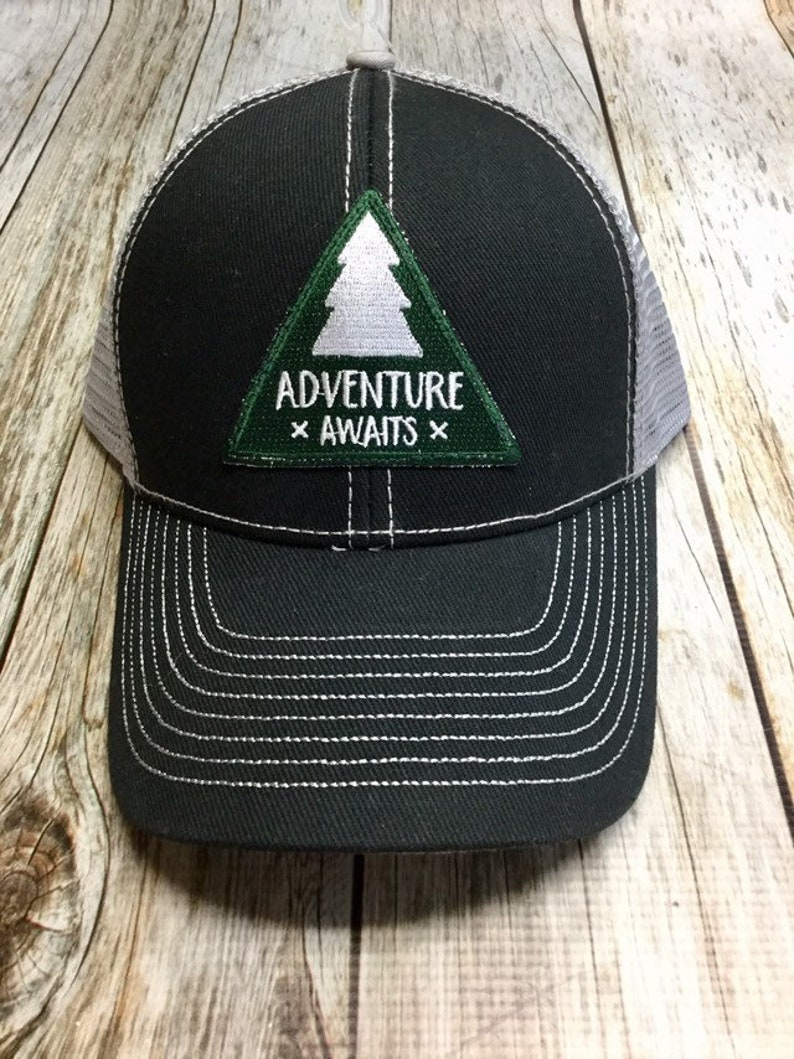 Women's Trucker Hat  Forest Green Adventure Awaits Patch image 0