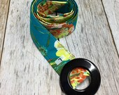 Fabric Belt - Yellow and Dark Orange Flower with a Turquoise Background