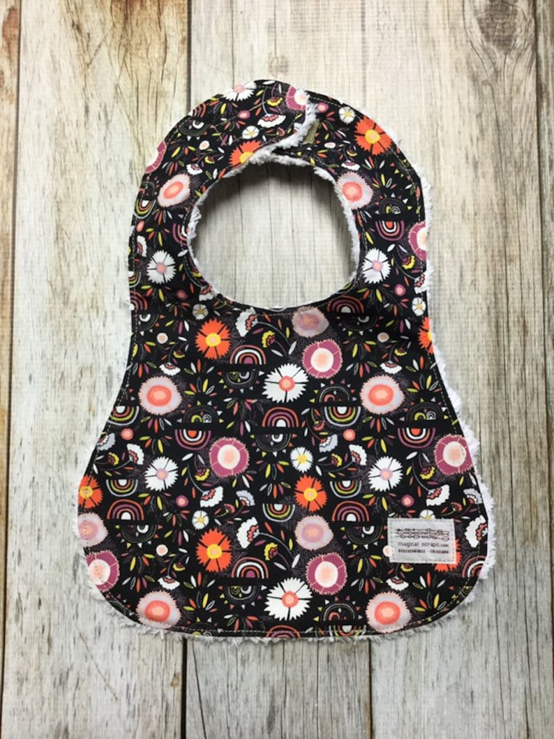 Baby Girl Bib in Black Floral Fabric  Baby Shower Gift-Baby image 0