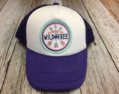 """Girls Youth Purple Trucker Hat with """"Always be Wild and Free"""" Patch- Kids Trucker Hat"""