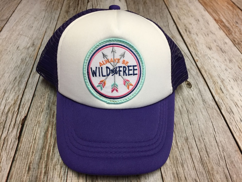 Girls  Youth Purple Trucker Hat with Always be Wild and image 0