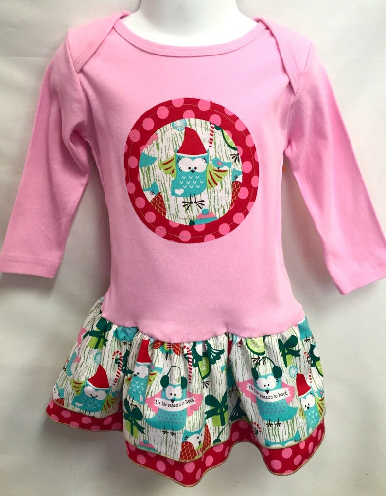 Girl's Christmas Dress Owl Applique in Pink image 0