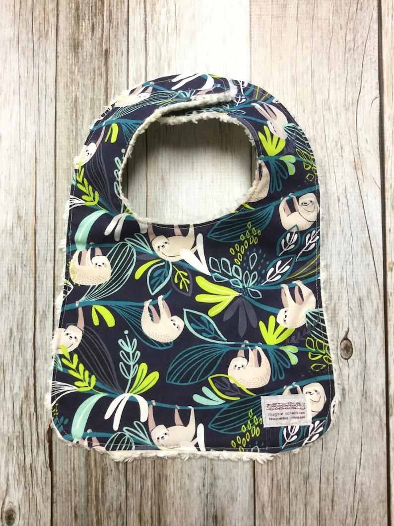 Gender Neutral Bib in Blue Sloth Fabric  Baby Shower image 0
