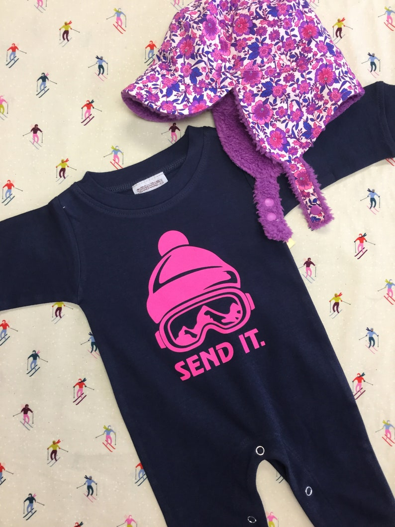 Send It  Romper Baby Girl gift Baby Shower Baby Ski Outfit image 0
