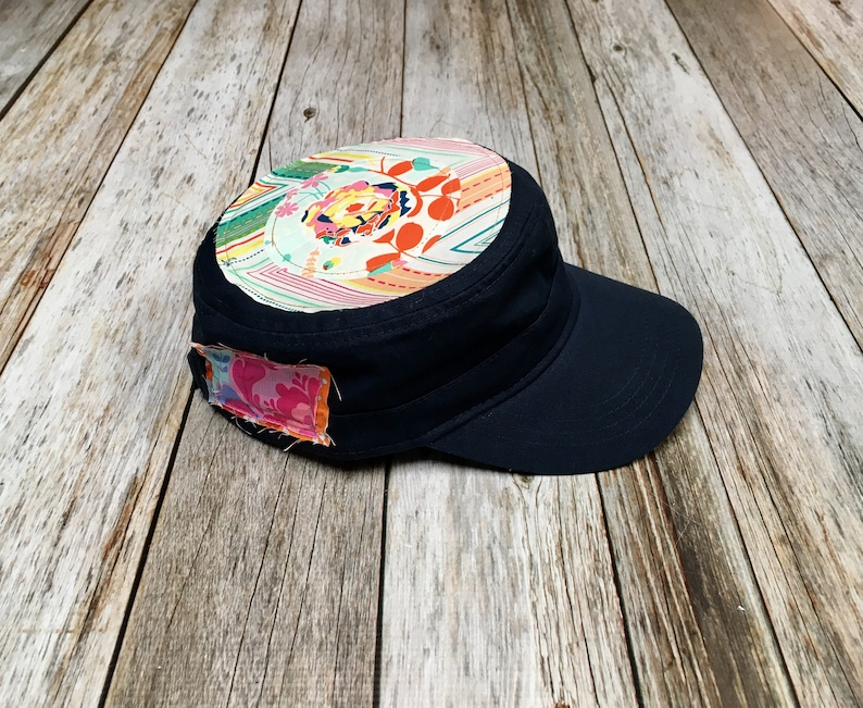 Women's Military Hat  Navy Cap with Floral Center on image 0