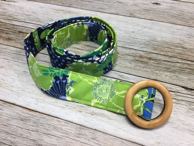 Navy Blue and Lime Floral Pattern Women/'s Fabric Belt