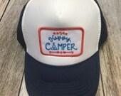 Youth Navy Trucker Hat- Happy Camper Patch-Kids trucker hat