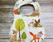Gender Neutral Bib Creamy Woodland Animal Fabric - Baby Shower Gift - Baby Bib - Baby Accessories