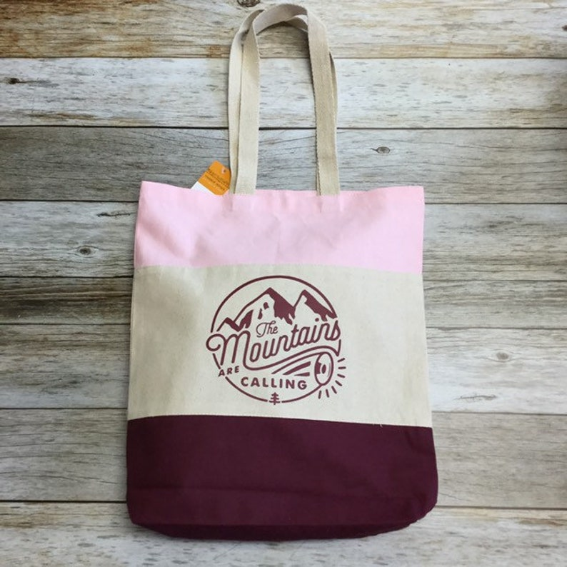 Tri Colored Tote Bag  The Mountains Are Calling image 0