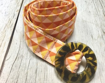 Women's Fabric Belt - Orange and Peach Triangles