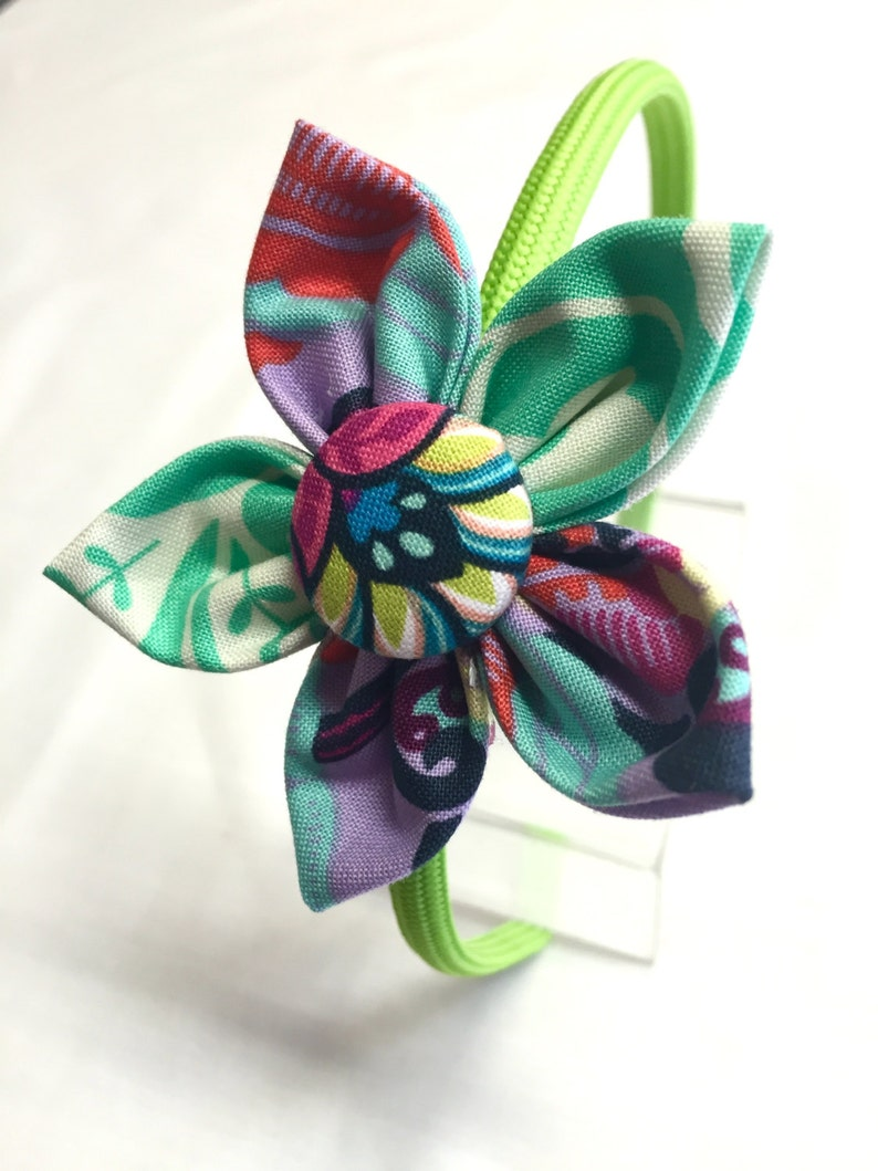 Flower Fabric Headband  Green Headband with Floral and image 0