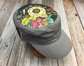 Women's Military Hat - Lt. Grey-Navy Floral Pattern - Cadet Hat in Grey