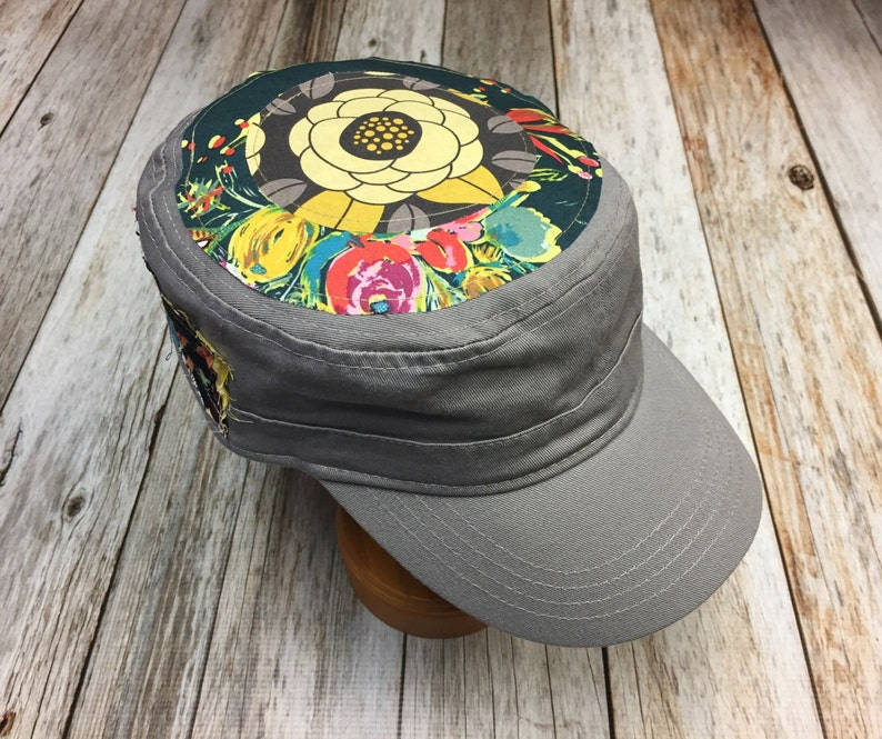 Women's Military Hat  Navy Floral Pattern  Cadet Hat in image 0
