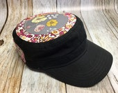 Women's Military Hat -Black- Gray and Pink Floral Pattern - Cadet Hat in Black