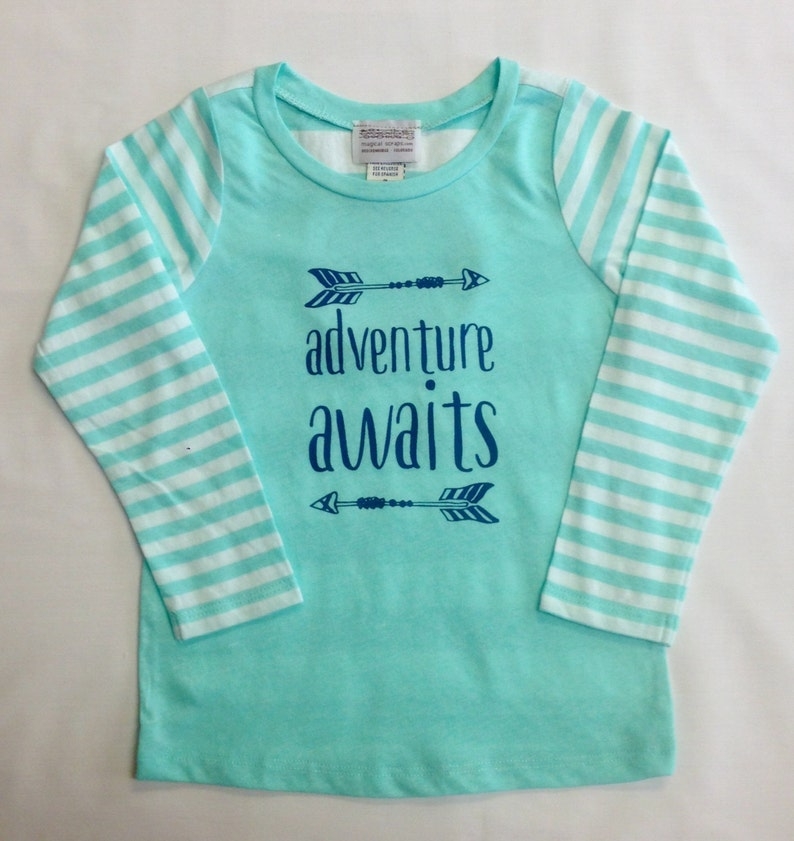 Adventure Awaits Girls Mint Striped Shirt with Appliqué Patch image 0