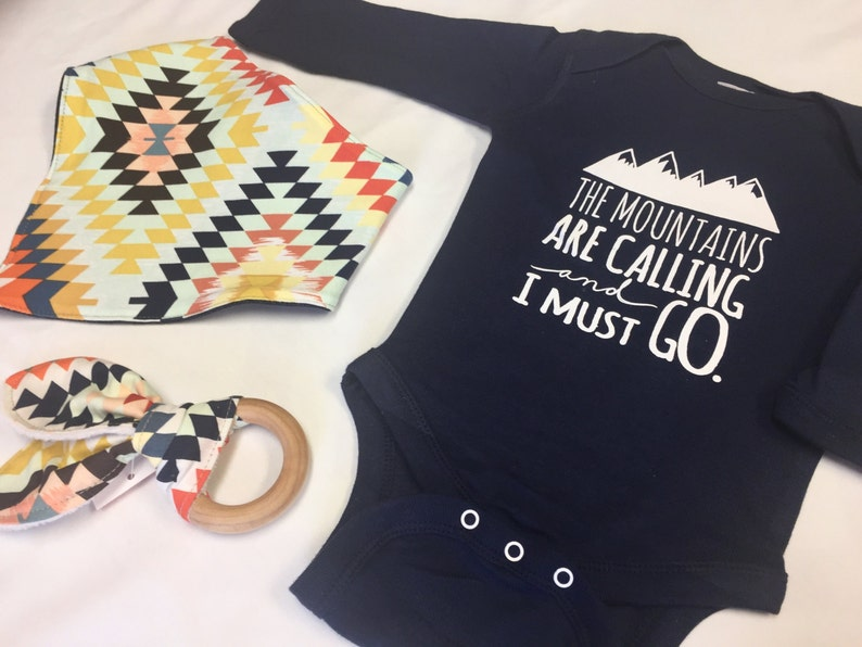 Gender Neutral Baby Gift Bodysuit  Mountains are image 0
