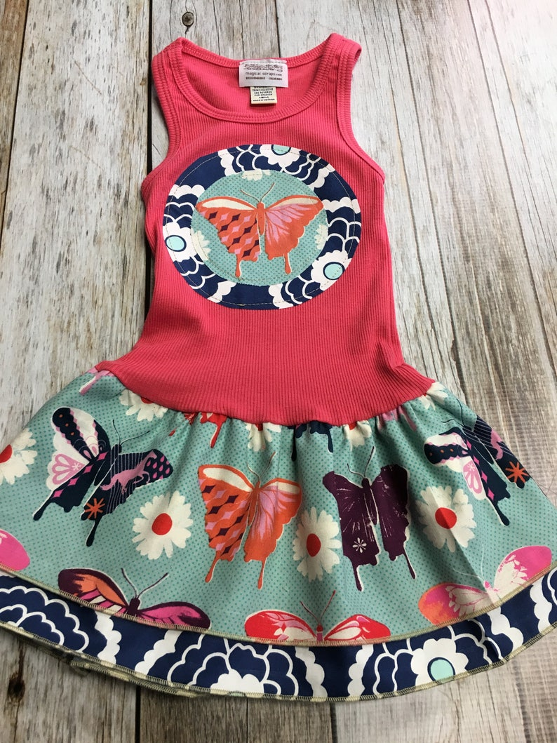 Girl's Toddler Tank Dress  Coral Butterfly  Infant Baby image 0