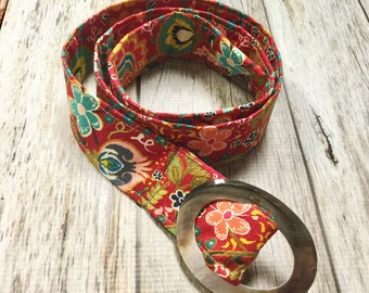 Women's Fabric Belt - Red Gypsy Floral