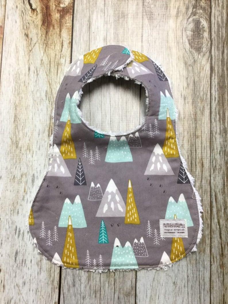 Gender Neutral Bib in Grey Mountain Scene Fabric  Baby Shower image 0