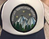 Youth Navy Trucker Hat- Mountain Appreciation Society Patch-Kids Trucker Hat