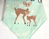 Gender Neutral Bandana Baby Bib in Mint Deer Fabric - B...
