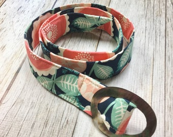 Women's Fabric Belt - Navy and Pink Large Floral