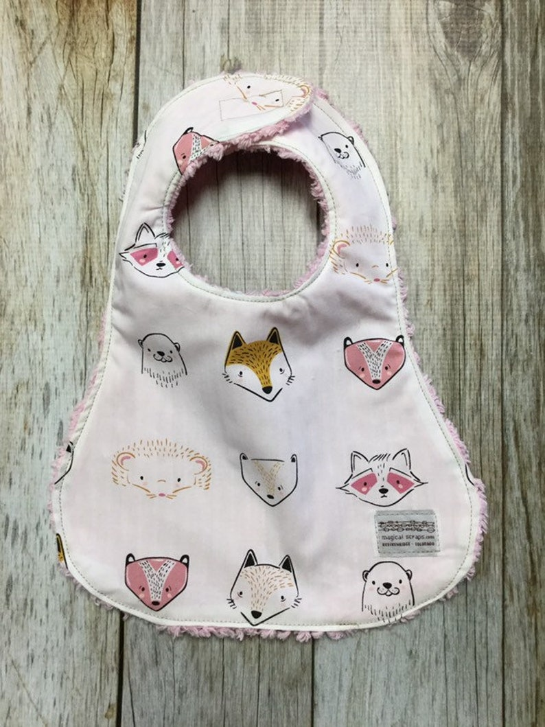 Baby Girl Bib in Woodland Creatures Fabric  Baby Shower image 0