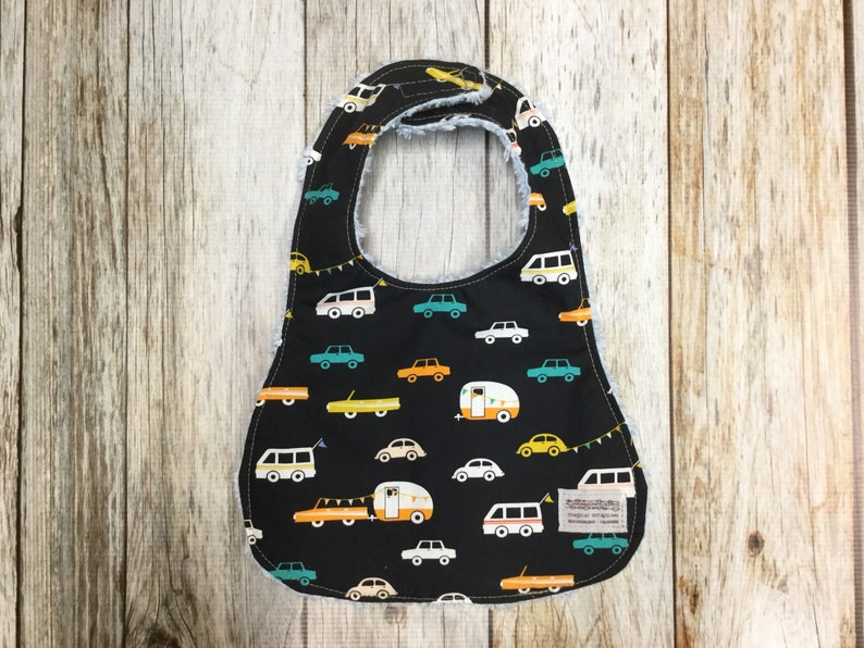 Baby Boy Bib in Cars and Campers Fabric  Baby Shower image 0