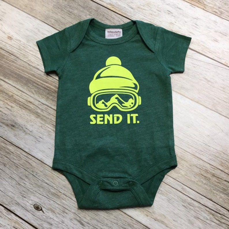 Boys Short sleeve Send It Bodysuit  Green  3-6months/6-12 image 1