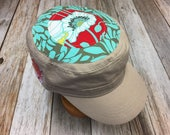 Women's Military Cadet Cap in Khaki - Sea Green, Red, and White Floral Top - Cadet Hat