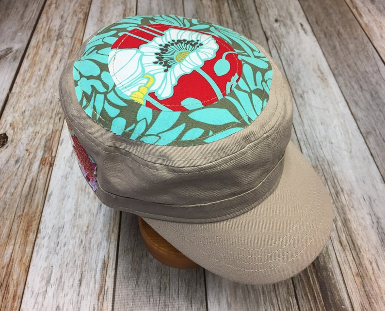 Women's Military Cap in Khaki  Sea Green Red and White image 0