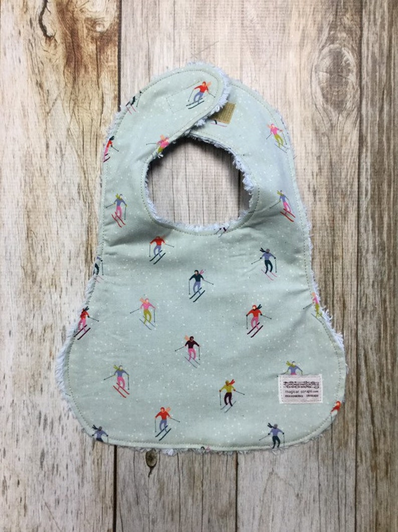 Baby Boy Bib in Skiers in Snow Fabric  Baby Shower Gift-Baby image 0