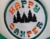 """Toddler/Kids Girls Trucker Hat """"Happy Camper"""" Patch -Green/ White Trucker Cap"""