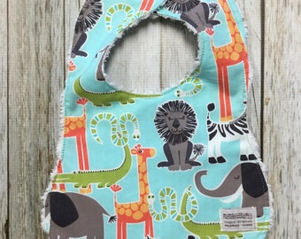 Gender Neutral Bib in Sky Blue Zoo Animals Fabric - Baby Shower Gift-Baby Accessories